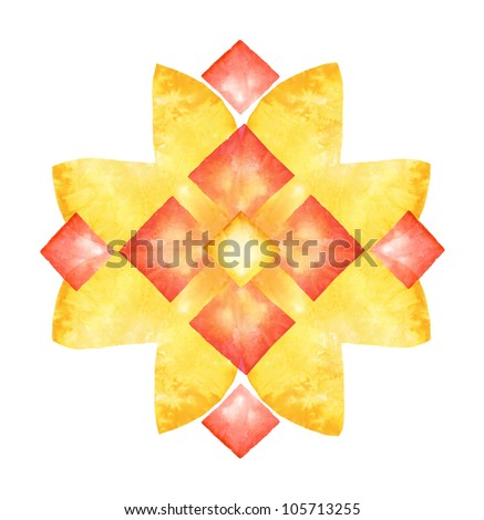 Decorative element made of dyed paper isolated on white background - stock photo