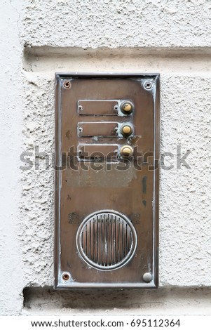Decorative element. Vintage brass doorbell with nameplates buttons and speaker. Pisa. Italy & Decorative Element Vintage Brass Doorbell Nameplates Stock Photo ...