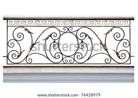 Decorative  fence of the balcony, gallery in old-time stiletto. Isolated over white background. - stock photo