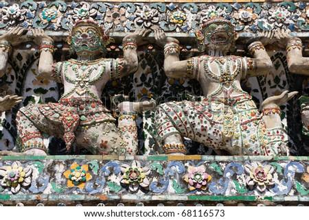 Decorative Figures on Stupa at Wat Arun in Bangkok, Thailand - stock photo