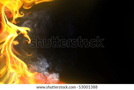 Decorative flame on black background - stock photo