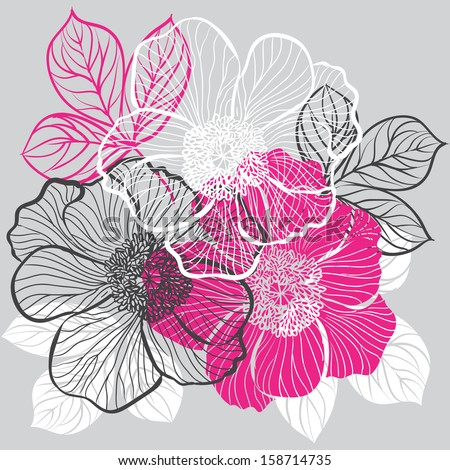 Decorative floral background with flowers of peony. Raster version.