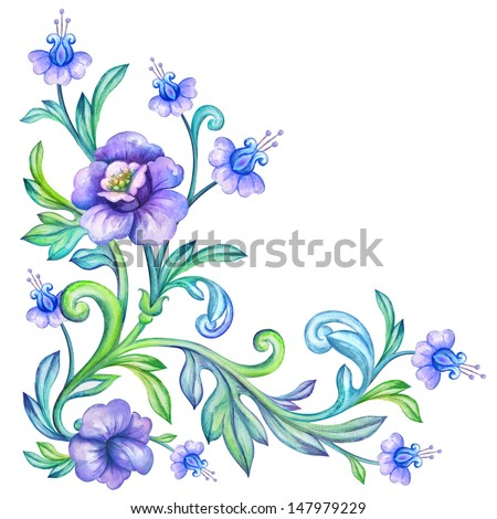 decorative floral corner design element, watercolor drawing isolated on white - stock photo
