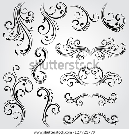 Decorative floral elements. Vector version also available in gallery.