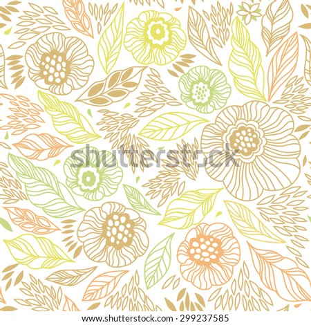 Decorative floral seamless background pattern in bright colors - stock photo