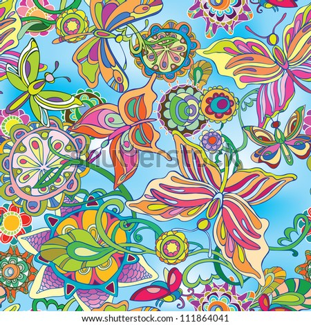 Decorative flowers and butterflies flying against the blue sky. Drawing. raster version