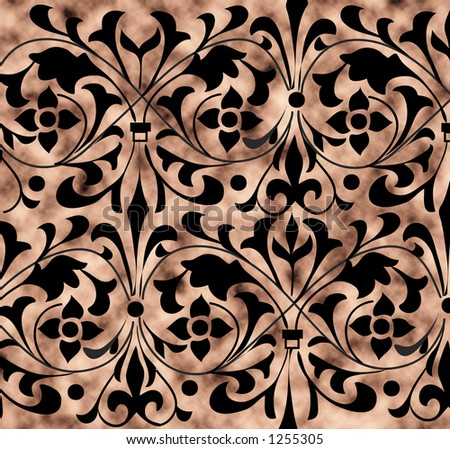 decorative flowery pattern on a tan grunge background