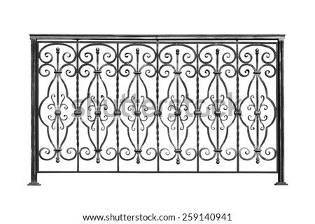 Decorative, forged  banisters, fence  in old  stiletto. Isolated over white background. - stock photo