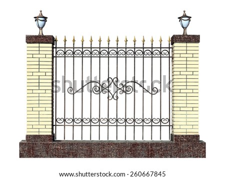 Decorative forged fence with pillar  in old  stiletto. Isolated over white background. - stock photo