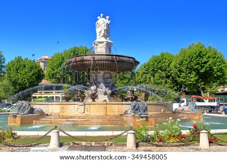Decorative fountain in Aix en Provence, Languedoc Roussillon, France - stock photo