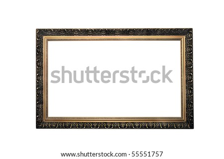 decorative frame for pictures isolated on a white background - stock photo
