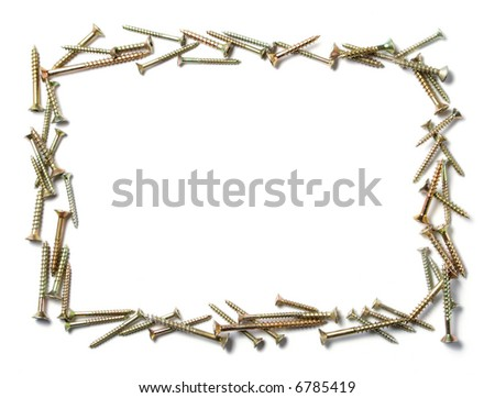 decorative frame made out of different wood screws, isolated on white with space for text