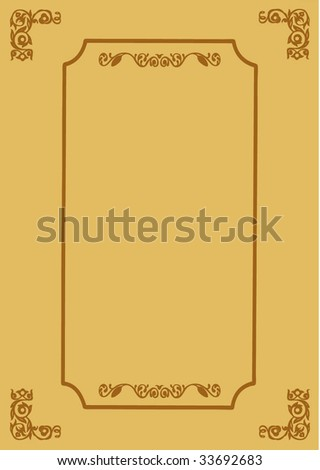decorative frame on brown background - stock photo
