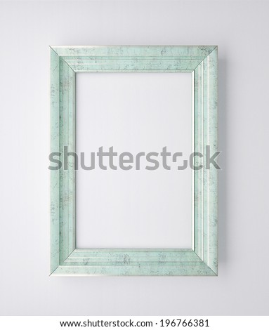decorative frame on the white wall - stock photo