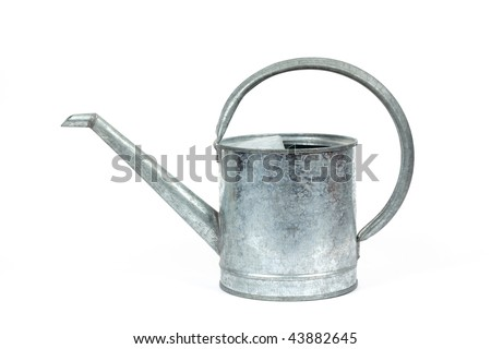 Decorative galvanized watering can - view from the side