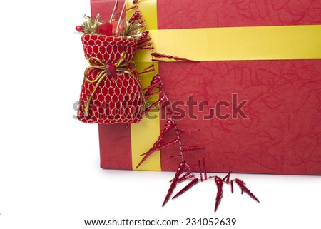 decorative gift box and bag for Christmas - stock photo