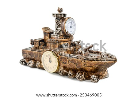 Decorative gift figurine military ship with a clock and thermometer isolated on white background - stock photo
