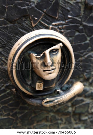 Decorative gilded door knob - stock photo