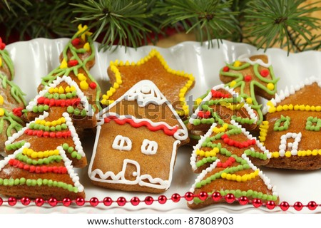 Decorative gingerbread Christmas cookies on plate