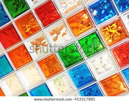 Decorative Glass Blocks in different colors - stock photo