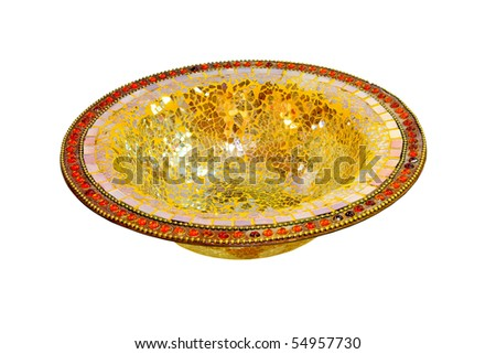 Decorative glass bowl with clipping path included - stock photo