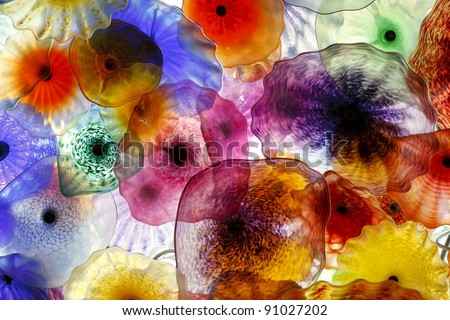 Decorative glass flowers illuminated to provide a special glow - stock photo