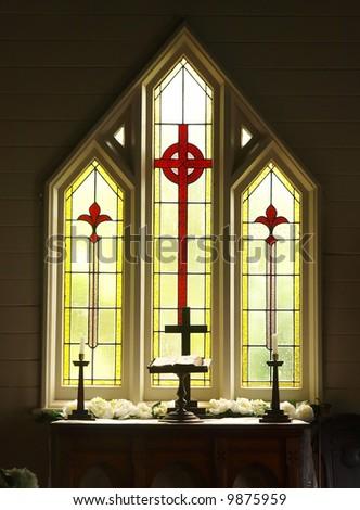 Decorative Glass windows in a church prepared for a wedding - stock photo