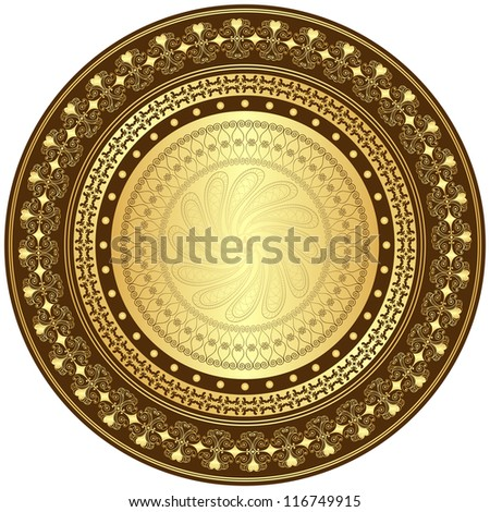 Decorative gold and brown frame with vintage round patterns on white - stock photo