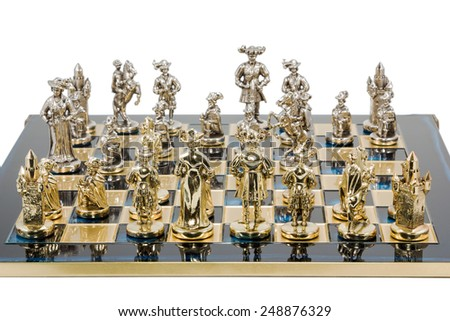 Decorative gold chess closeup isolated on white background - stock photo