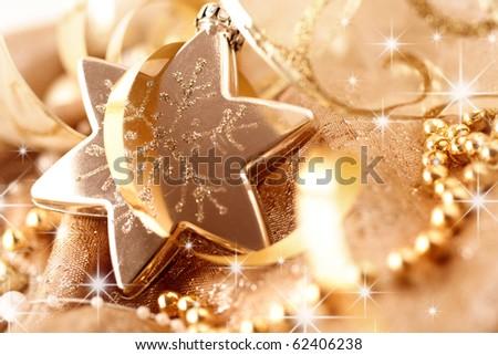 decorative gold christmas ornament - stock photo