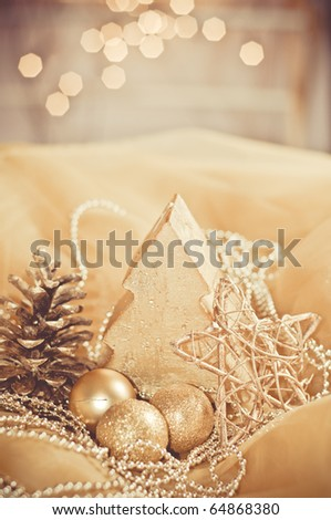 decorative gold christmas ornament - stock photo