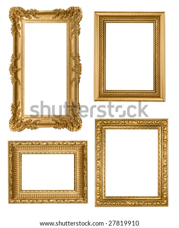 Decorative Gold Empty Wall Picture Frames Insert Your Own Design - stock photo