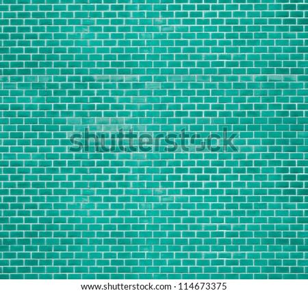 Decorative green brick wall texture in horizontal view - stock photo