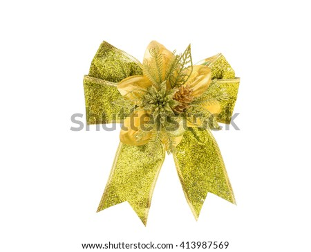 Decorative green & gold color ribbon bow on isoleted white background,with clipping path