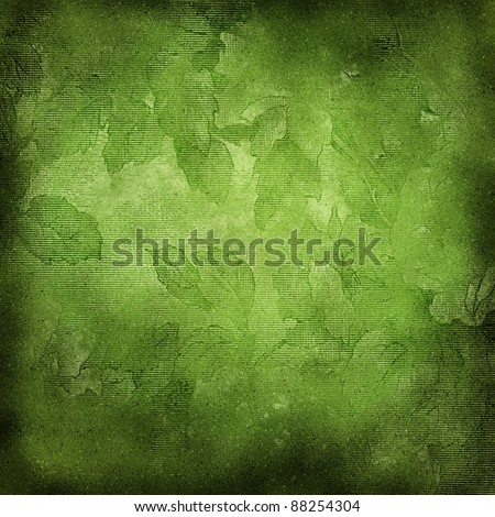 decorative grunge  background with green  leaves - stock photo