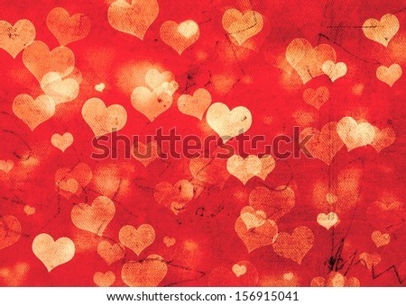 Decorative grunge valentine background with hearts - stock photo