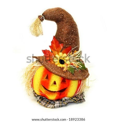 Decorative Halloween Jack o lantern pumpkin in color - stock photo