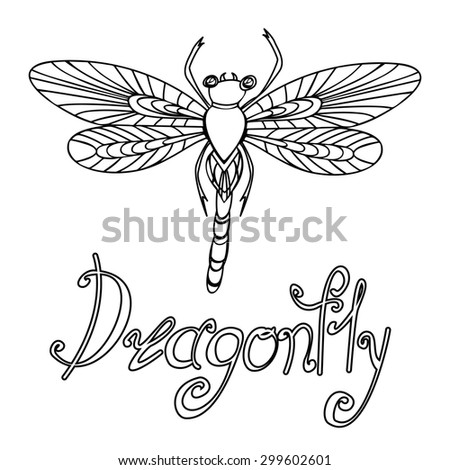Decorative hand drawn Doodle dragonfly in a linear style, raster copy of illustration - stock photo