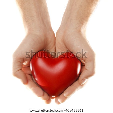 Decorative heart in male hands, isolated on white