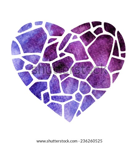 decorative heart with abstract watercolor background