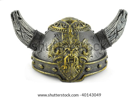 Decorative helm viking with two horns - stock photo