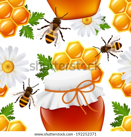 Decorative honey food jar hive bumble bee daisy honeycomb seamless pattern  illustration - stock photo