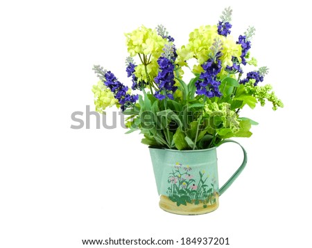 Decorative hydrangea and lavender in pot isolated in white background