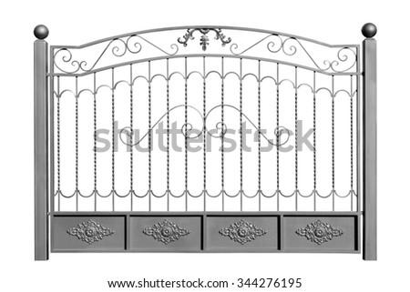 Decorative iron fence. Isolated over white background. - stock photo