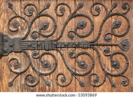 Decorative Iron pattern Hinge - stock photo