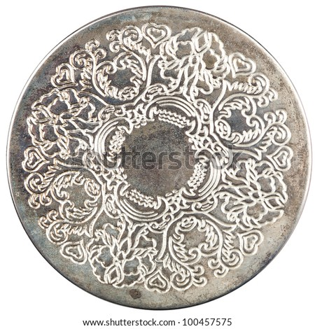 Decorative iron table coaster isolated on white - stock photo
