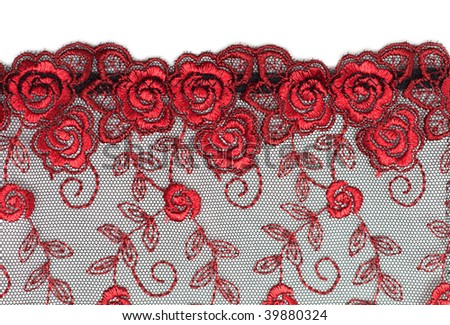 Decorative lace with pattern on white background - stock photo
