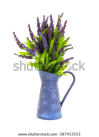 Decorative lavender in a metal Jug. Isolated on a white background