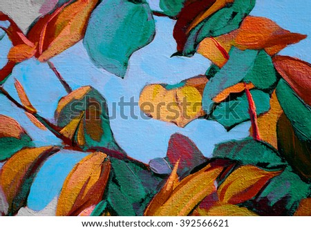 decorative leaves on branch, painting by oil on canvas, illustration - stock photo