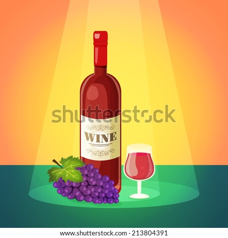 Decorative light dry red wine restaurant bar advertisement poster with wineglass and grapes cluster abstract  illustration - stock photo